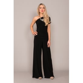 Rhodium one shoulder jumpsuit