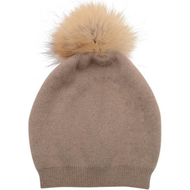 Malini Cashmere blend fur bobble hat - Taupe - Departments from ... a481c899950