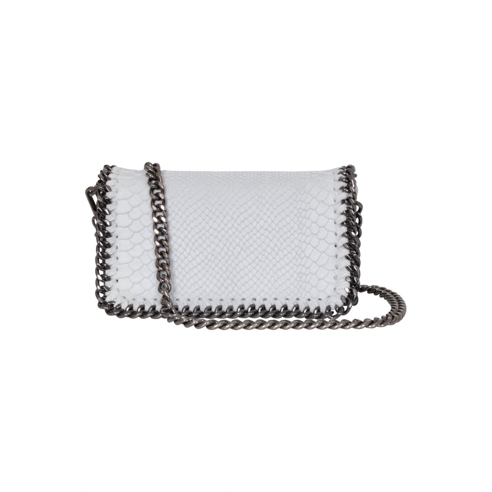 d9b644db3d944 Vimoda - Small leather chain snake bag S16 - White - Departments ...