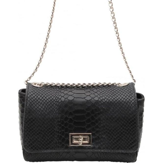 53834602781db Vimoda Small leather snake box bag S16 - Black - Departments from ...